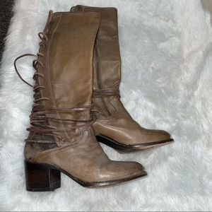 Free Bird coal lace up tall boots brown leather 7